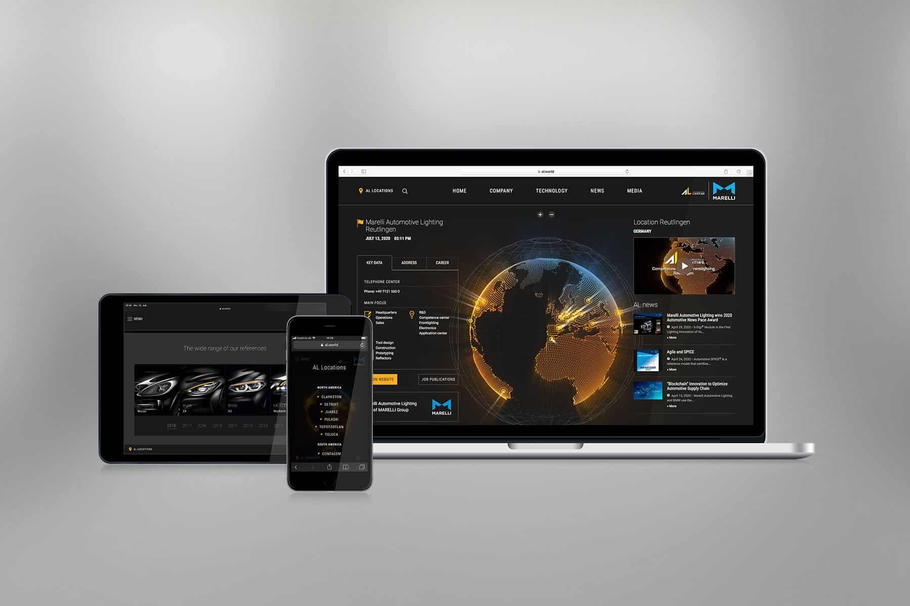 TYPO3 Responsive Website von Marelli Automotive Lighting