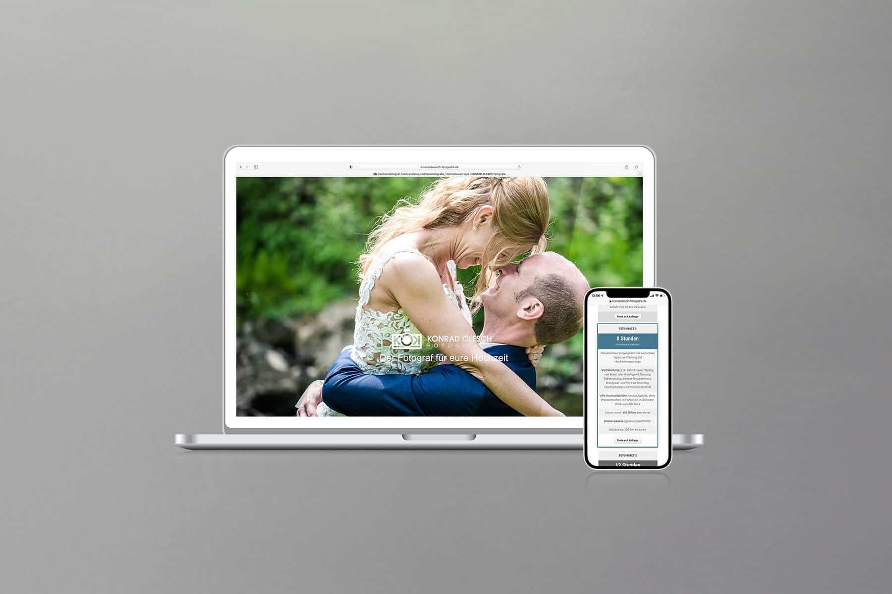 Agentur-Referenzen: Webdesign und WordPress Website für Fotografen von Hochzeiten