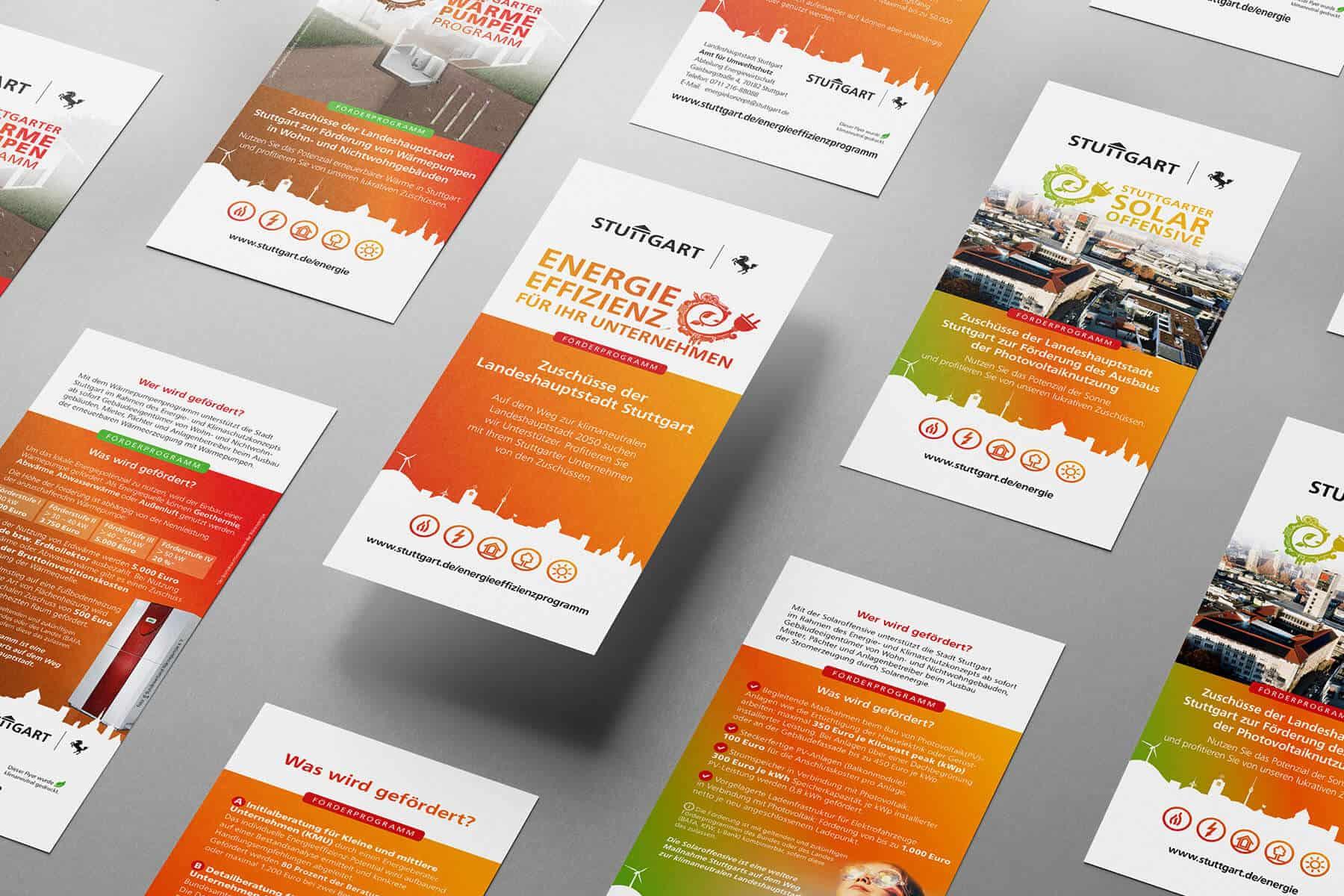 Flyer-Serie für das Amt für Umwelt der Landeshauptstadt Stuttgart