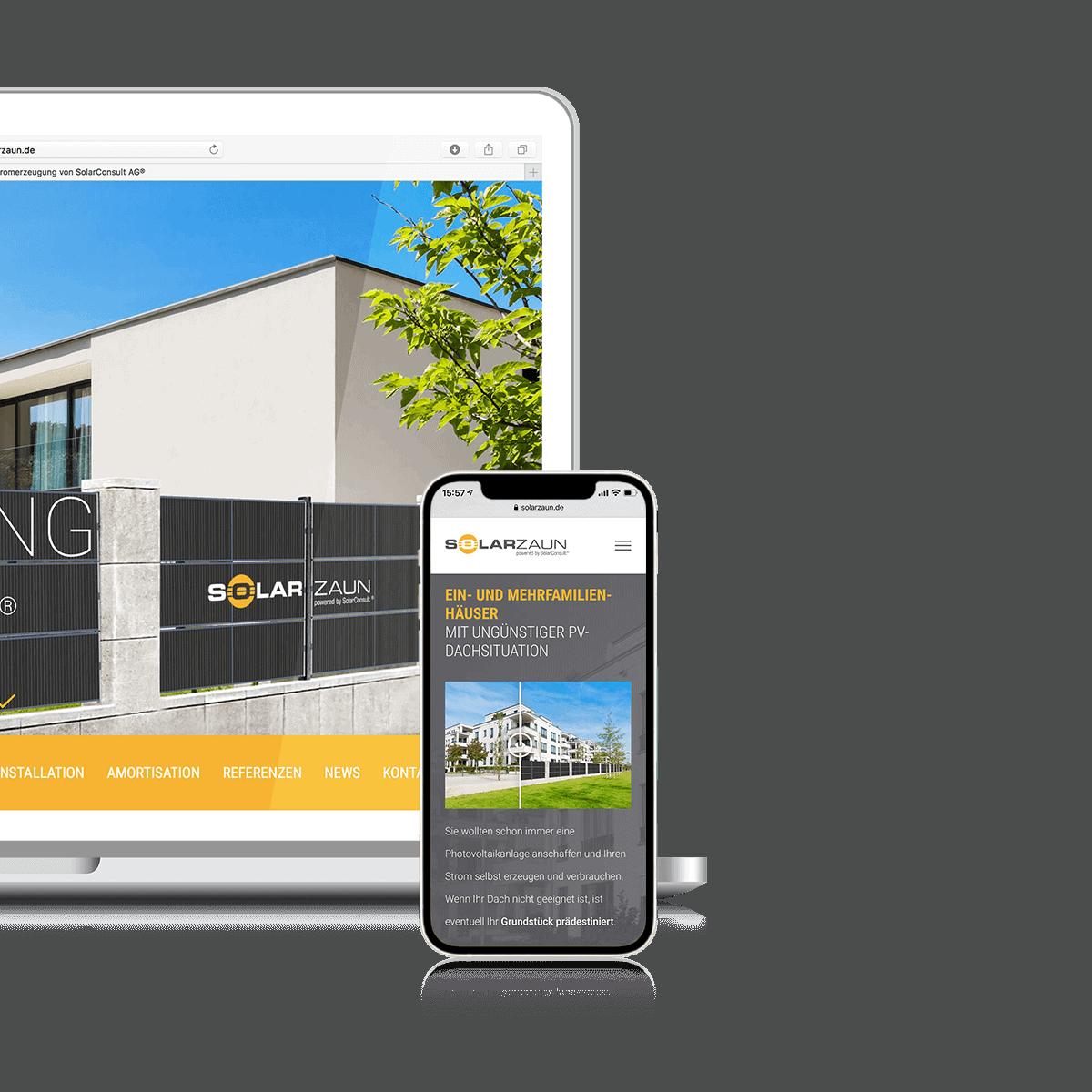 Agentur-Referenzen SolarZaun WordPress Produktlaunch Microsite
